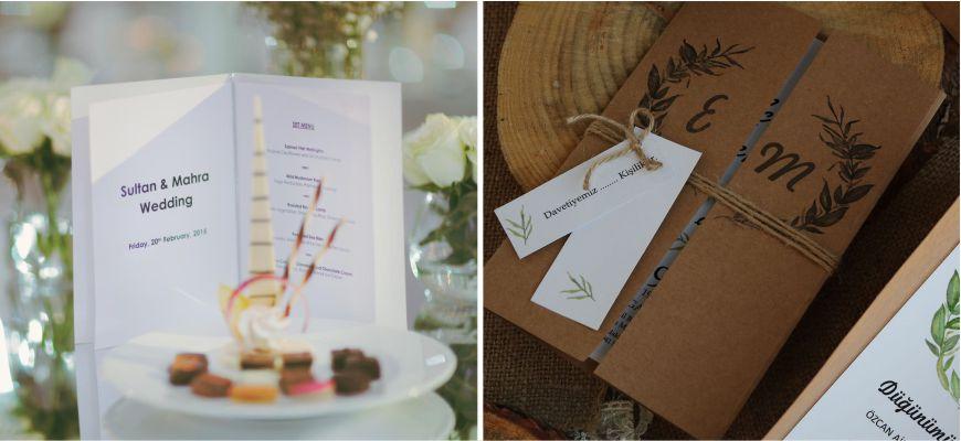 Yemek Kartlı Düğün Davetiyesi