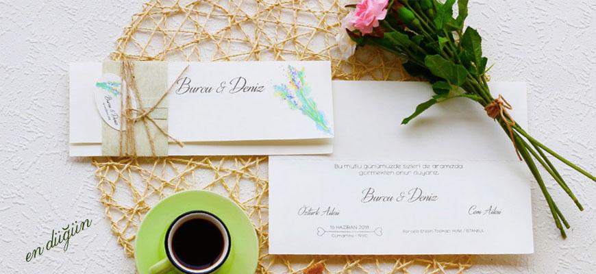 Kendinden Zarflı Düğün Davetiyesi