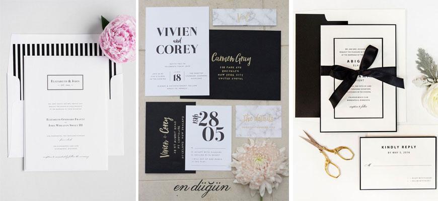 Siyah Beyaz Düğün Davetiyesi