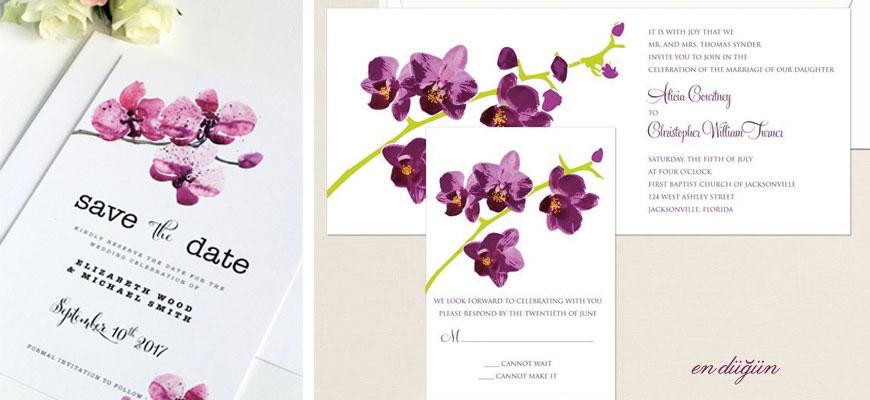 Orkide Düğün Davetiyesi