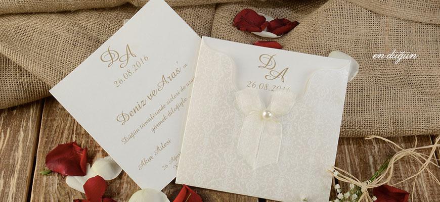 Beyaz Tül Düğün Davetiyesi