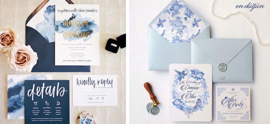 Mavi Düğün Davetiyesi