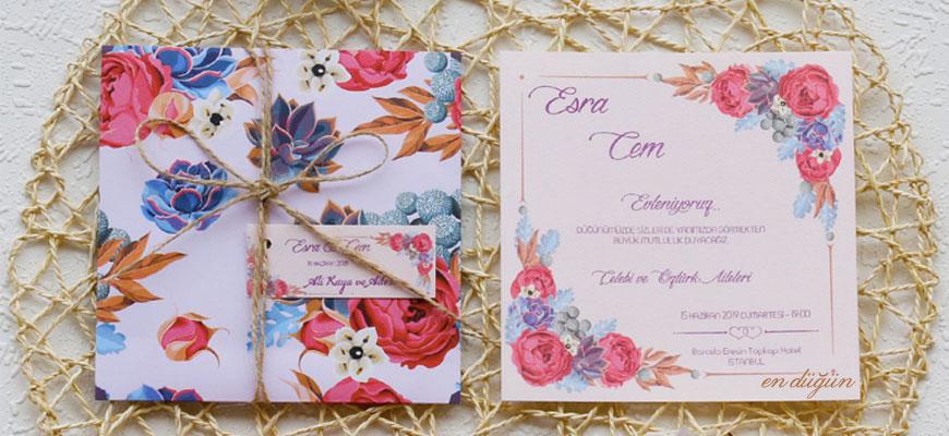 Çiçek Tasarımlı Düğün Davetiyesi