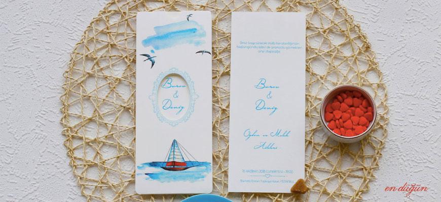 Deniz Temalı Düğün Davetiyesi