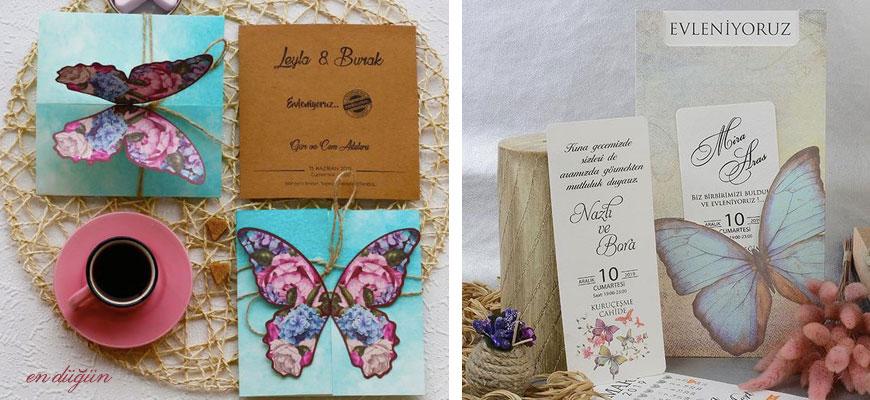 Kelebekli Düğün Davetiyesi