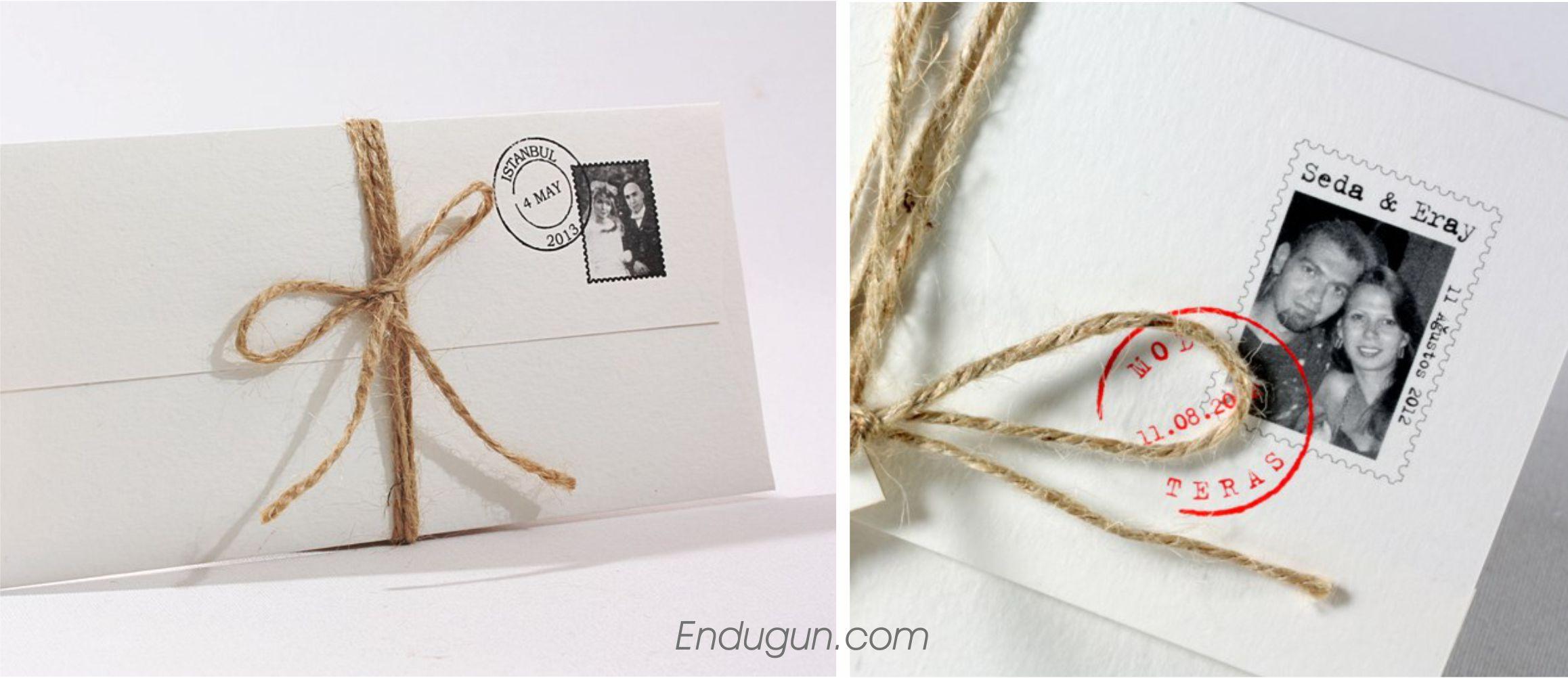 Posta pullu düğün davetiyesi