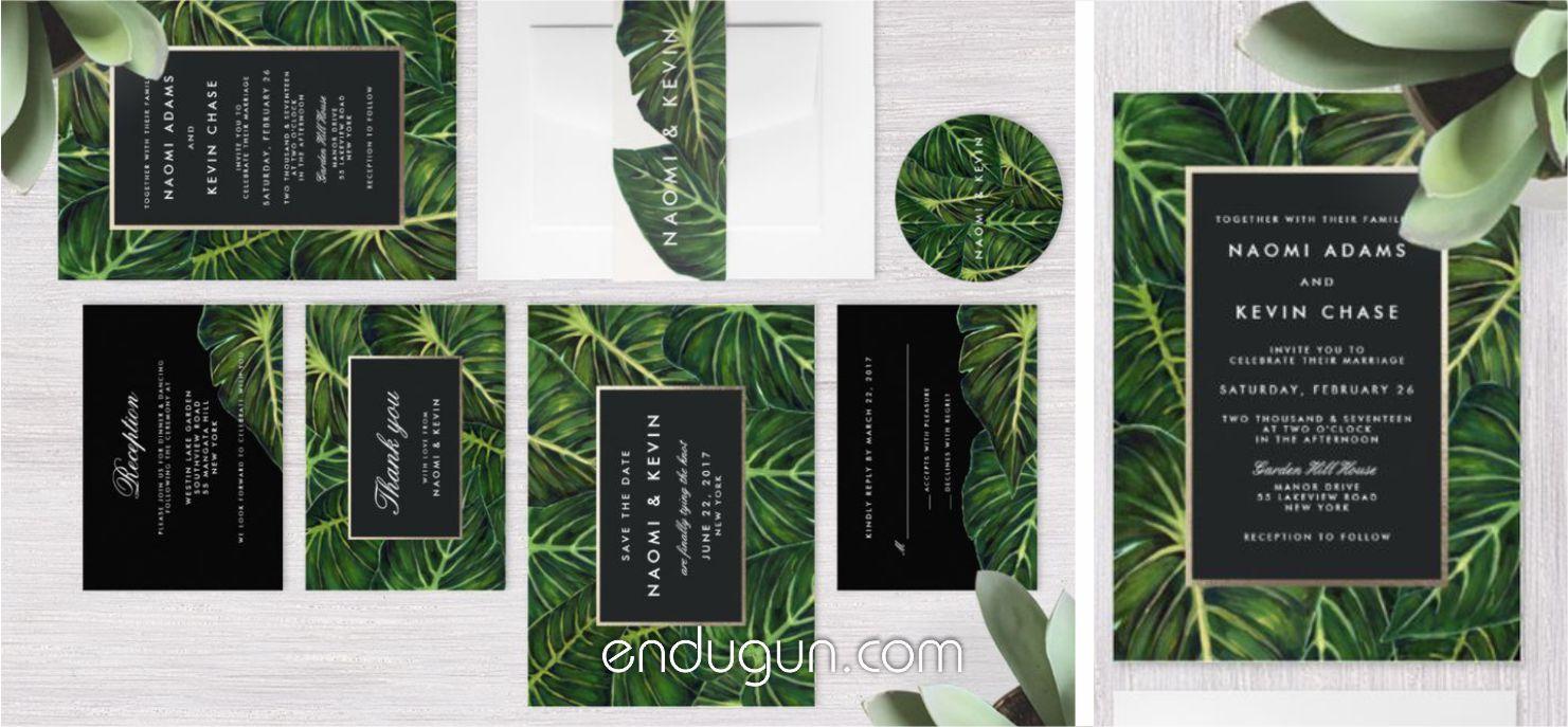 Tropikal Yaprak Tasarımlı Düğün Davetiyeleri