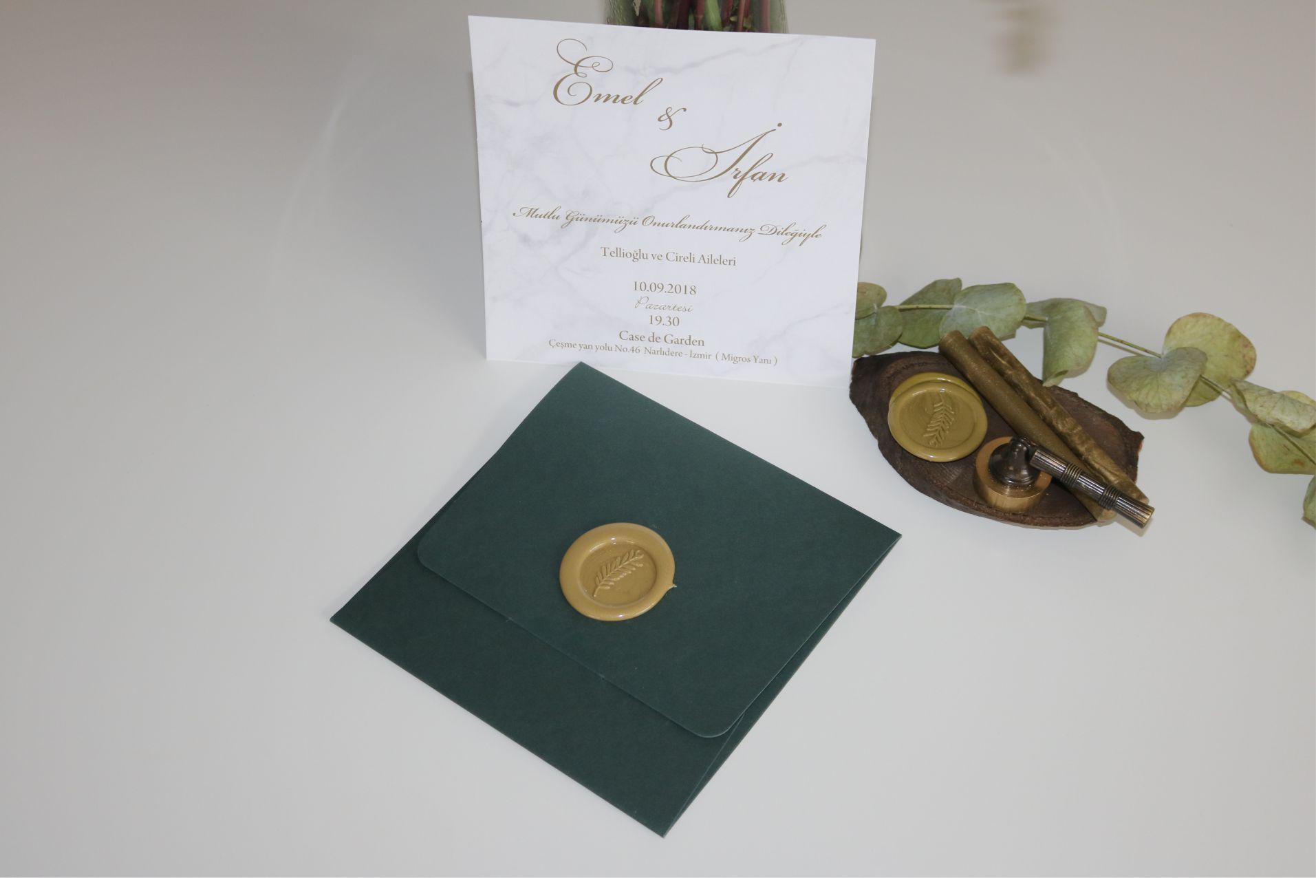 Yeşil Mermer Desenli Davetiye