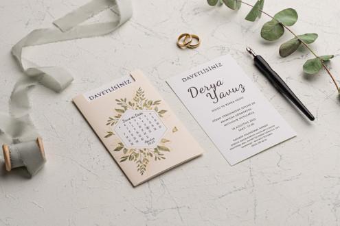 Takvimli Düğün Davetiyesi